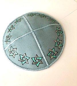 Kipa Leather GreyBlue Stars of David